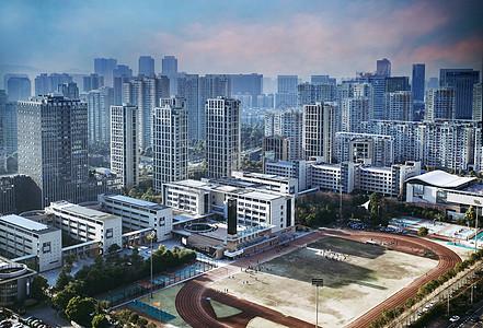 城市的高楼大厦 学校操场图片