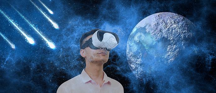 戴着VR眼睛仰望星空图片