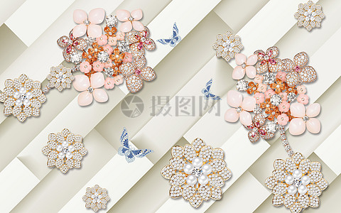 方块珠宝花粉色蝴蝶背景墙图片