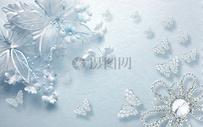 蓝色丝绸珠宝花蝴蝶电视背景墙图片