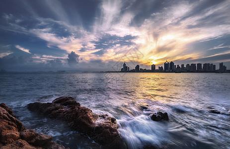 夕阳的海图片