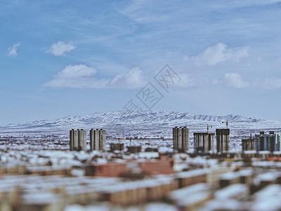 北方古城的雪景图片