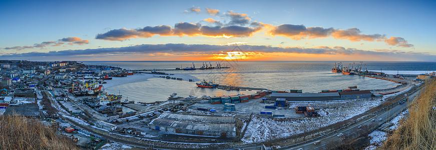 港口船舶日落全景图图片