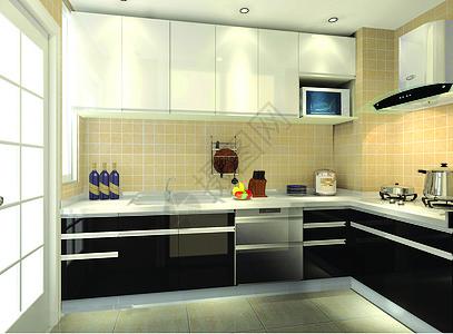 深色系厨房效果图图片