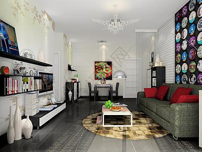 现代黑白灰风格客厅效果图高清图片