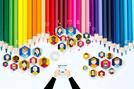彩色铅笔商务图图片