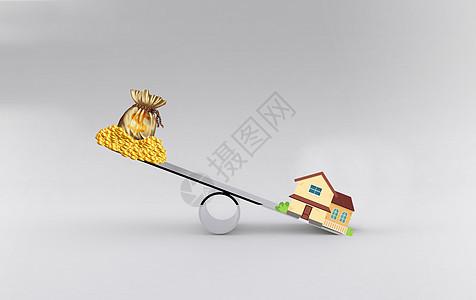 房地产专用房子和金钱炒房创意策划图图片