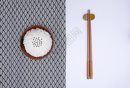极简黑芝麻白米饭主食餐具套装餐布图片
