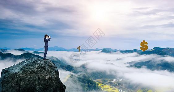 男子望向远处山顶的金钱图片