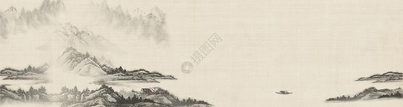 复古山水画背景板图片