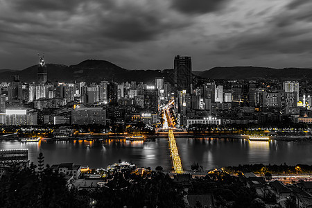 中山桥城市夜景图片