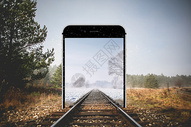 超现实铁路穿越手机屏幕图片