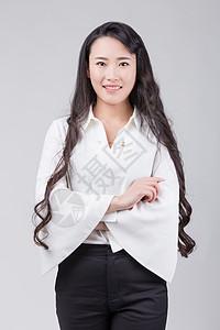 职业女性化妆师甜美卷发形象照图片