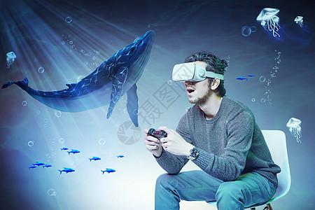 头戴VR在海底遇见鲨鱼图片