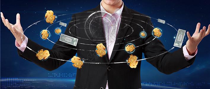 商务男环绕钱图片