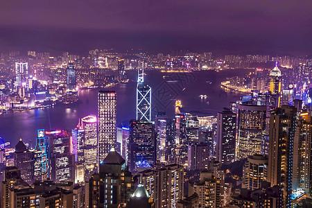 现代城市香港太平山黄昏夜景图片