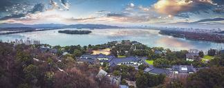 西湖全景图片