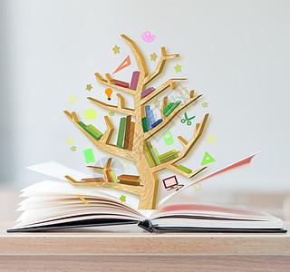 书本上的大树图片