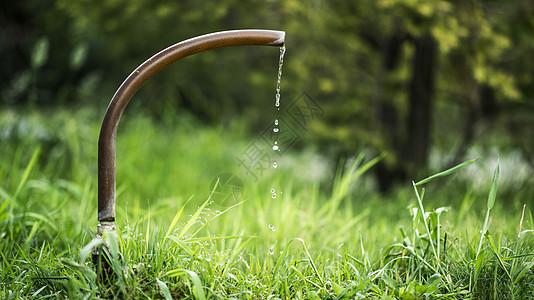 草坪里的水龙头滴水瞬间图片