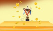 金砖红毯上的奖杯和金币图片