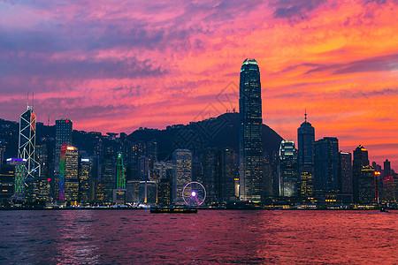 香港维多利亚港的火烧云图片