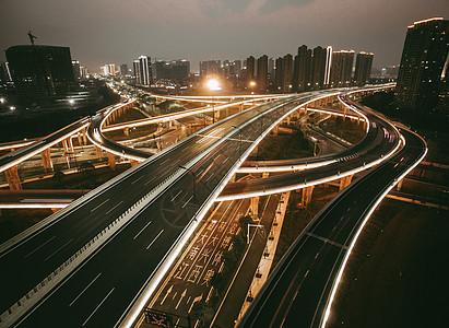 立交桥夜景航拍图片