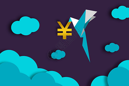 代表吉祥的纸鹤叼着钱而来图片