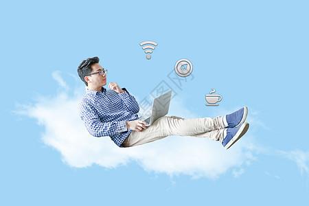 在云上办公的人图片