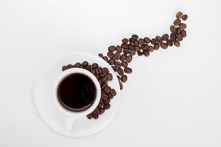 咖啡咖啡豆创意摆拍白底图片