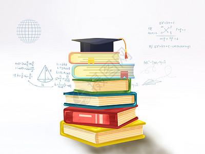 书籍上的学士帽图片