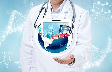 医生双手拿住医疗工具图片