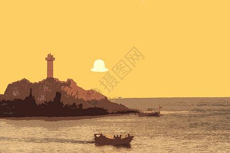 夕阳小岛图片