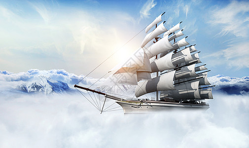 船飞行在深山云层上迎接日出图片