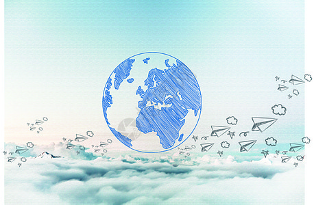 蓝天白云纸飞机图片
