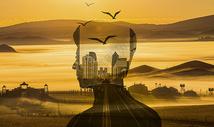 山林与城市喧闹与宁静人物剪影图片