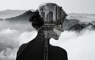 山林与城市剪影图片
