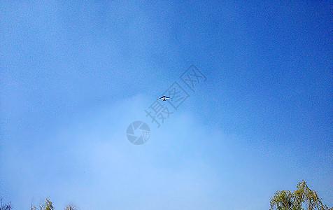 蔚蓝天空中的小飞机图片