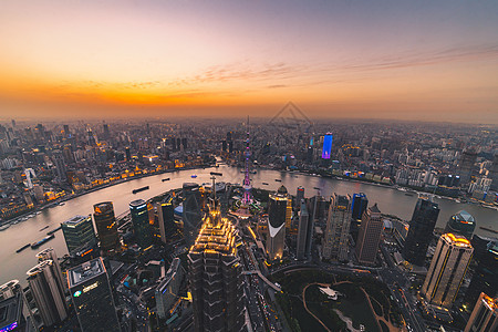 俯拍城市风光夜景图片