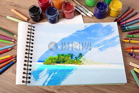 笔记本上的小岛图片
