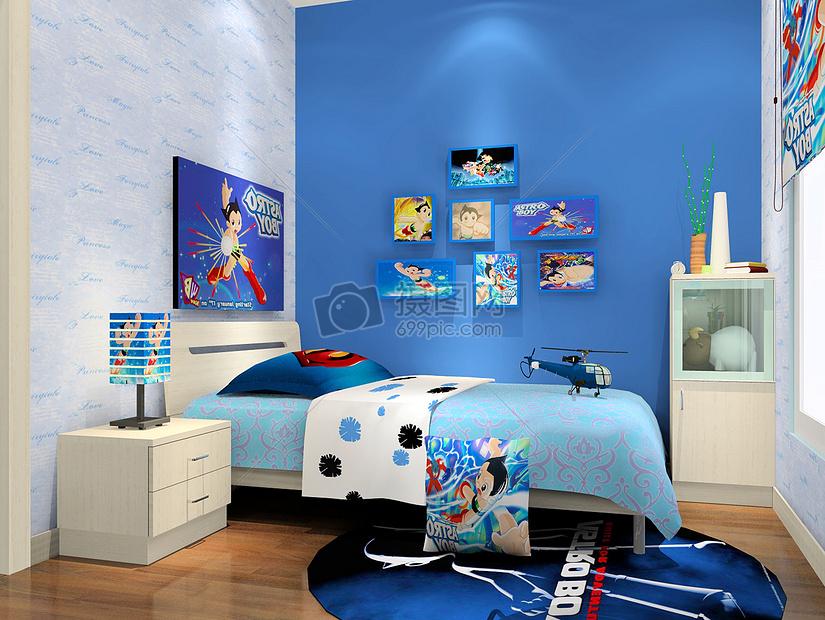 蓝色卡通卧室效果图