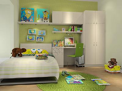绿色系主卧室效果图图片