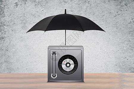 商业伞下面的保险柜创意图图片