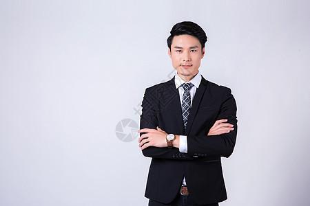 商务男士微笑白底半身像图片