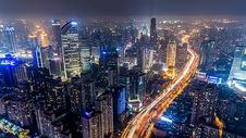 现代都市航拍城市夜景图片