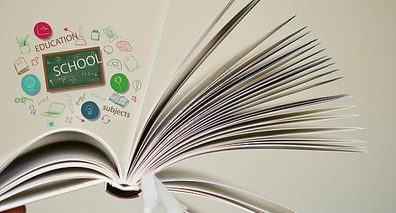 摊开的白色的书本里有各种各样的科学知识图片