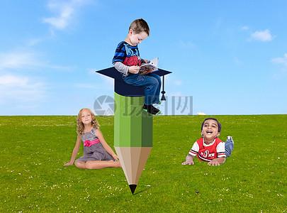 仰望在学习的孩子图片