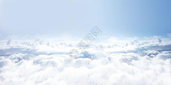 蓝天天空中山与云海空旷图片