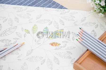 填色中的彩色铅笔图片