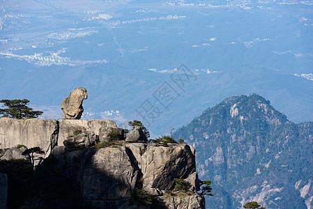 黄山奇石猴子观海图片