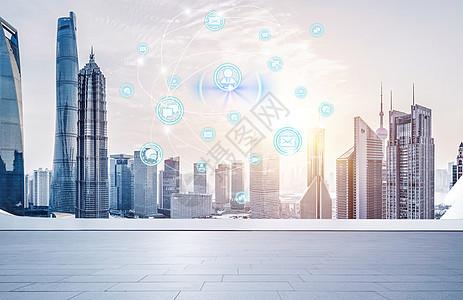 蓝色城市科技背景图图片